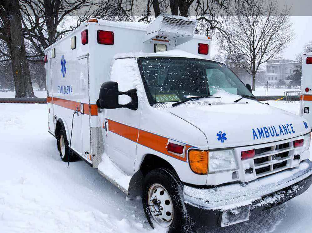 close up ambulance in snow